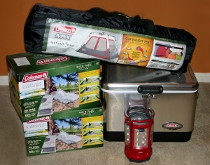 Coleman camping, Instant Tent, Sleeping bags, Quad 4 lantern, Stainless Steel Cooler